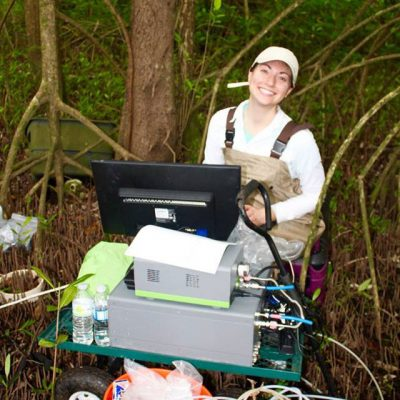 Researcher Rose Martin in the field studying mangroves