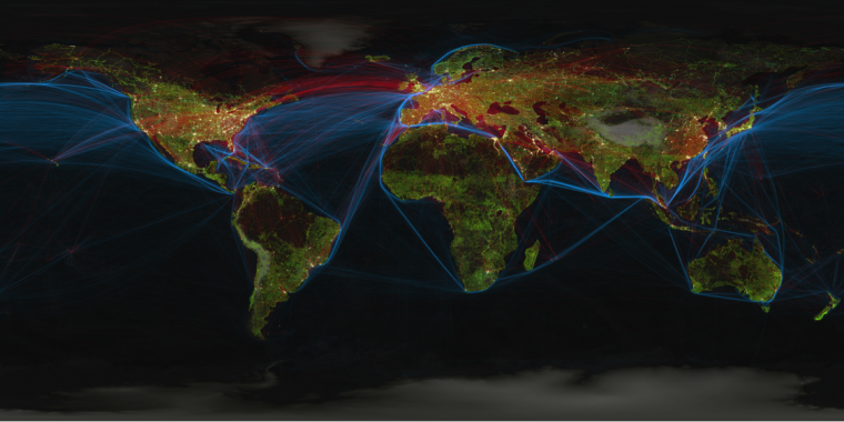 satellite map of world with transportation lines highlighted