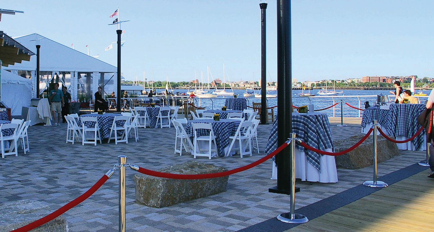 party tables on harbor view terrace