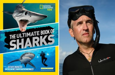 National Geographic photographer Brian Skerry and the cover to his children's book Ultimate Book of Sharks