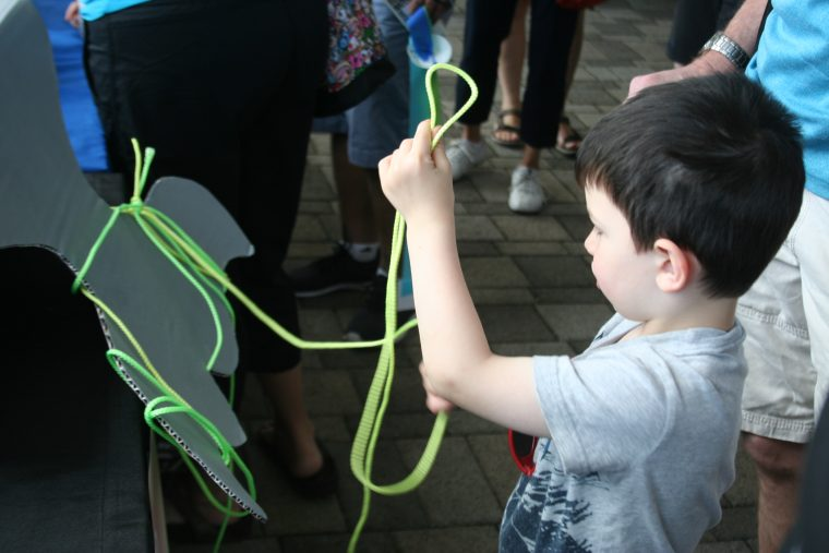A World Oceans Day 2018 visitor tries his skills at untangling the fishing rope from a replica whale tail.