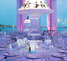 Decorative Table set for an event on New England Aquarium's Harbor Terrace