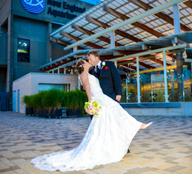 Wedding couple on New England Aquarium's Harbor Terrace