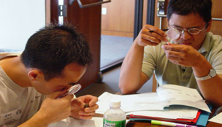 Teachers observing specimens in a training session