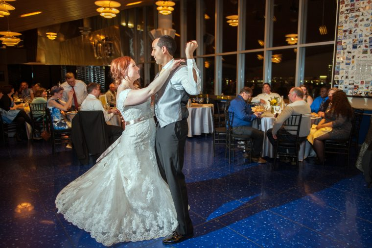 Newly weds first dance in private venue