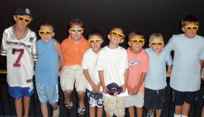 Kids in 3D glasses at IMAX birthday party