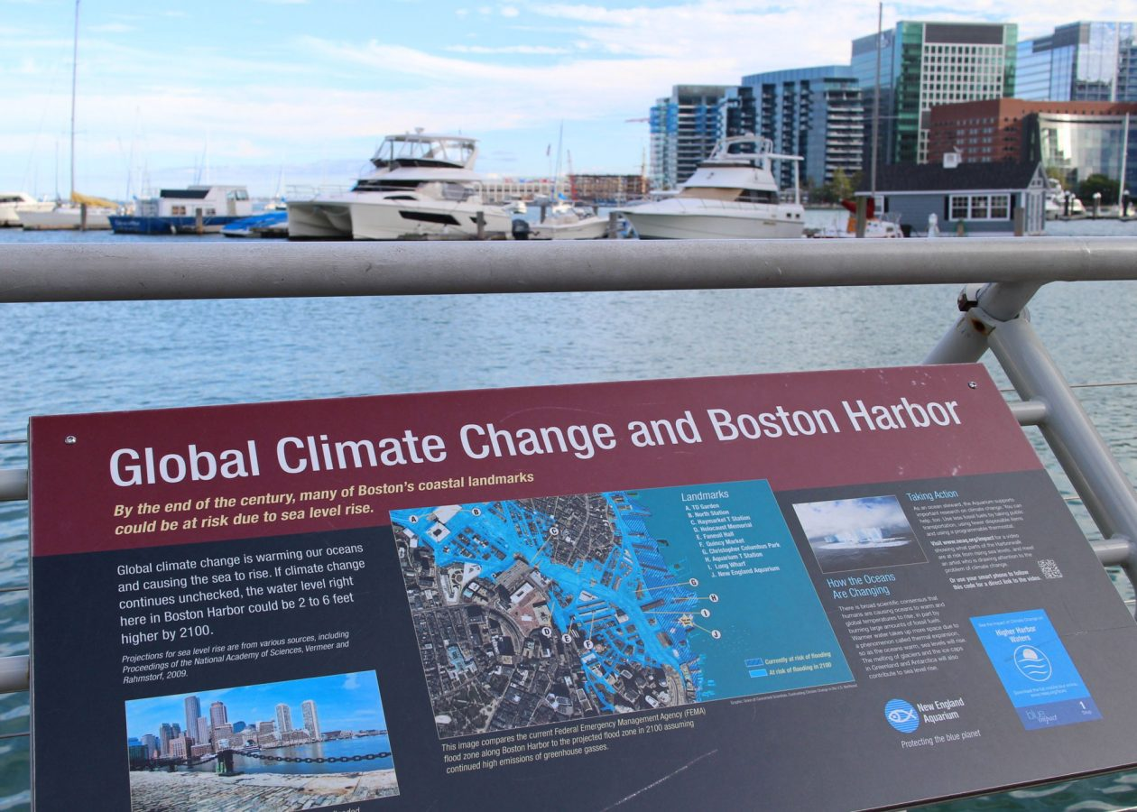 boston harbor with climate change sign