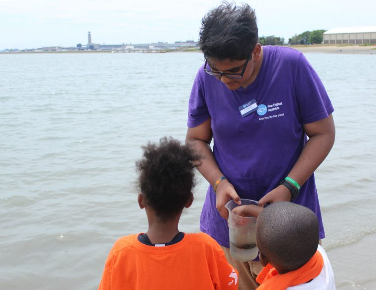 educator talks to kids at beach