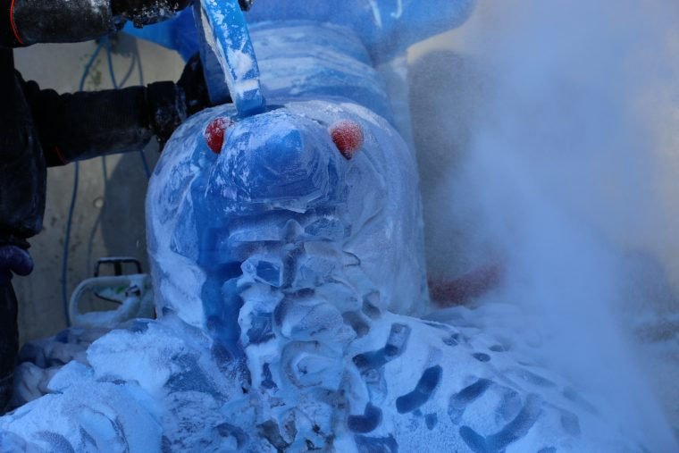 giant blue ice sculpture lobster at new england Aquarium