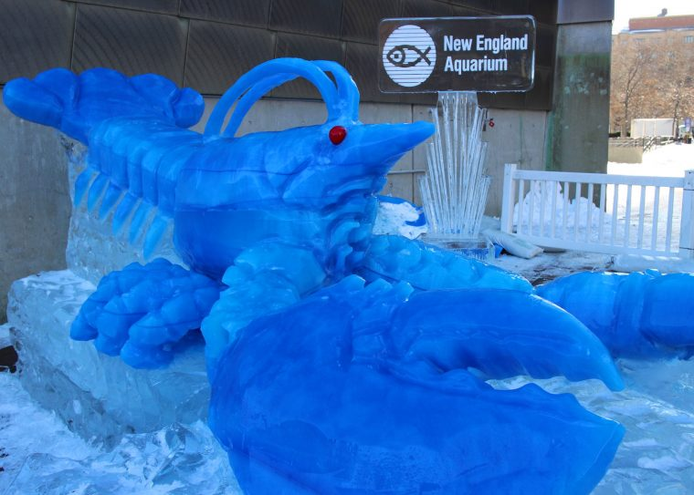 blue lobster ice sculpture