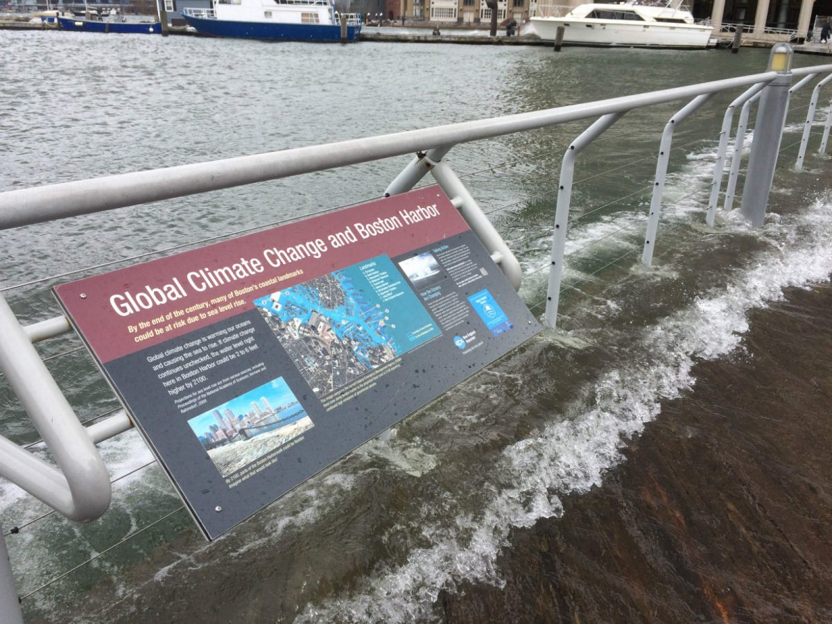 climate change sign at flooded harborwalk