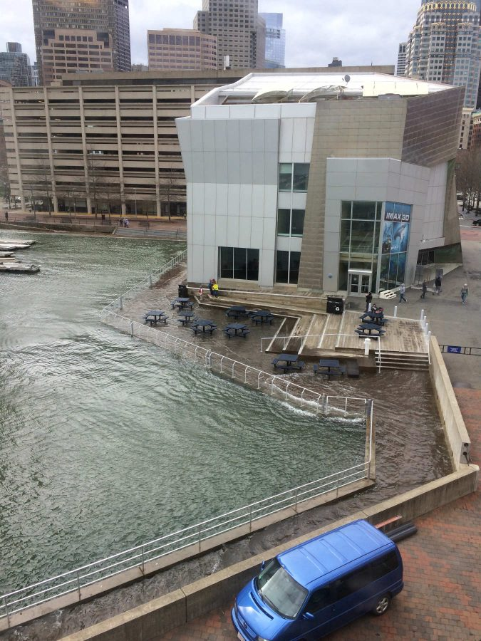 Flooded harborwalk around the IMAX theatre