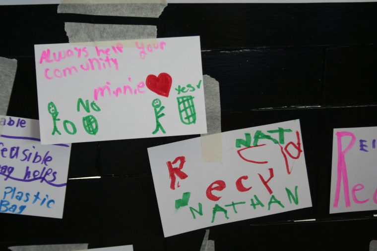 Some of the messages created at World Oceans Day 2018.