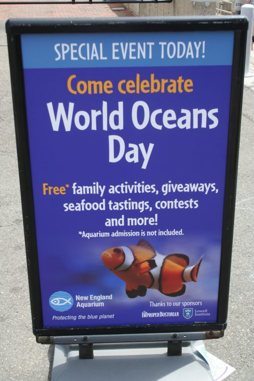 A World Oceans Day 2018 sign