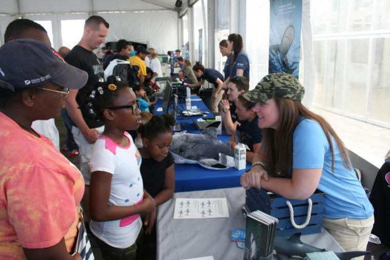 A World Oceans Day 2018 visitor participates in an activity.