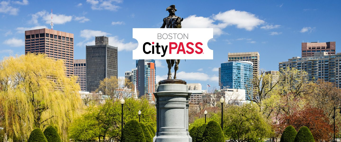 cityPASS logo and image of George Washington statue in Boston Common