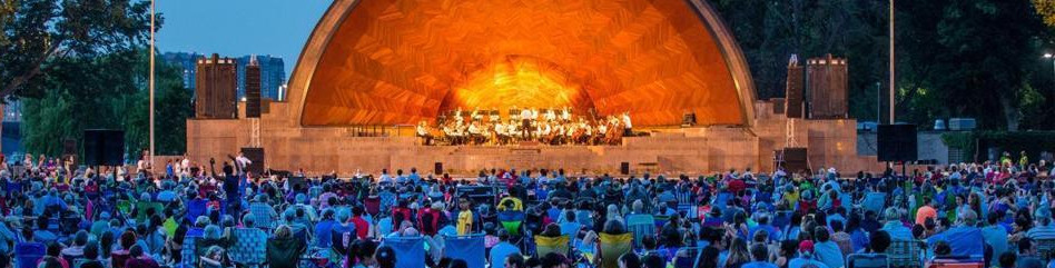 Boston Landmark Orchestra performs at the Hatch Shell in Boston