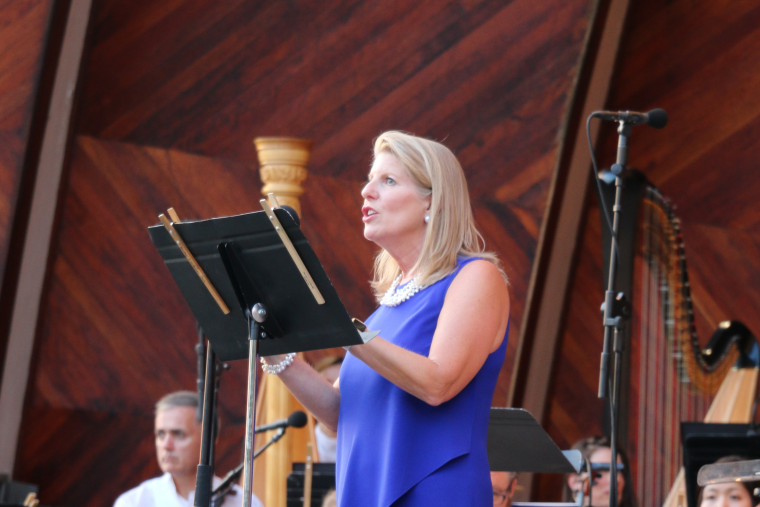 New England Aquarium President and CEO Vikki Spruill at the Landmarks Orchestra Sounds of the Sea concert.