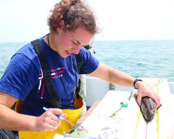 researcher measuring fish on boat