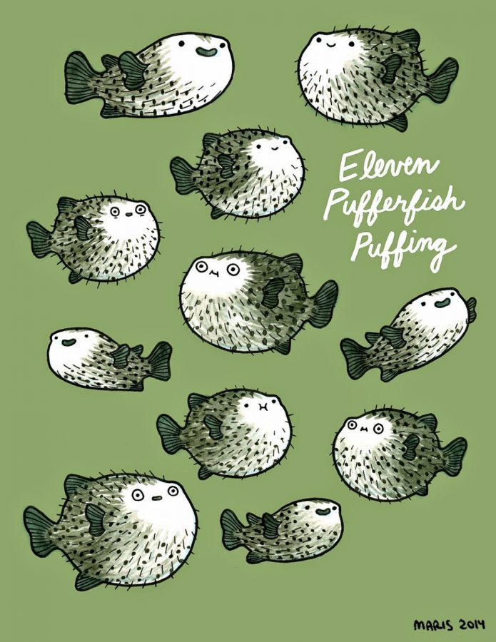 illustration of eleven puffers puffing