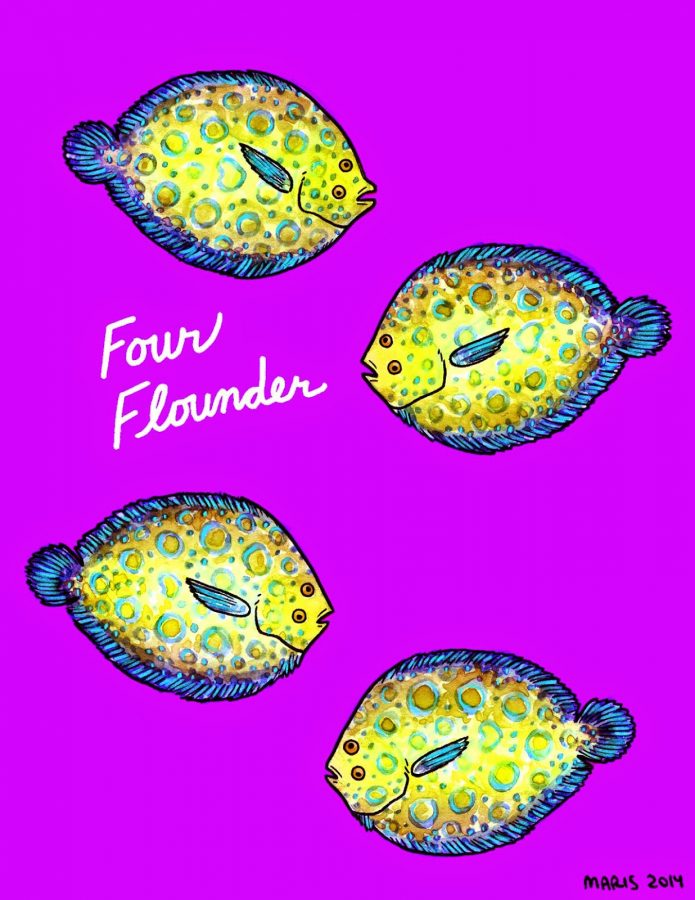 illustration of four flounder