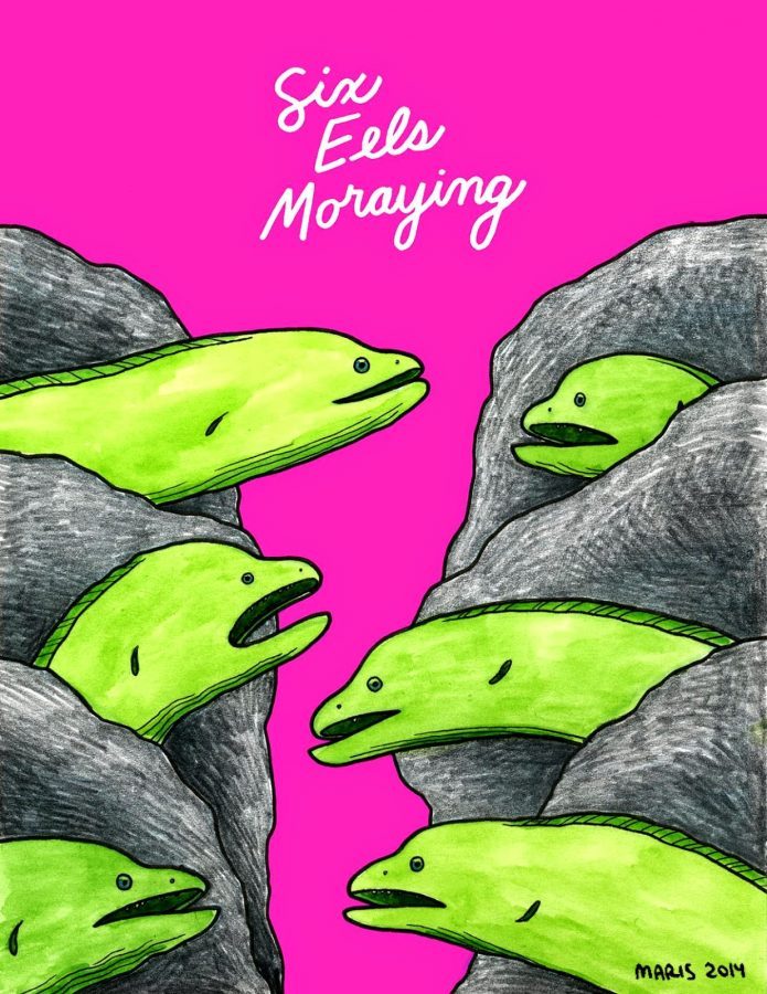 illustration of five moray eels