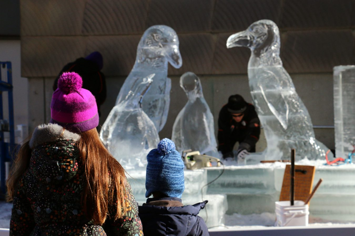 family watches man working on penguin ice sculpture