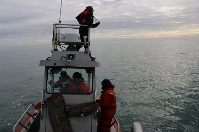 Right whale researchers in Cape Cod Bay