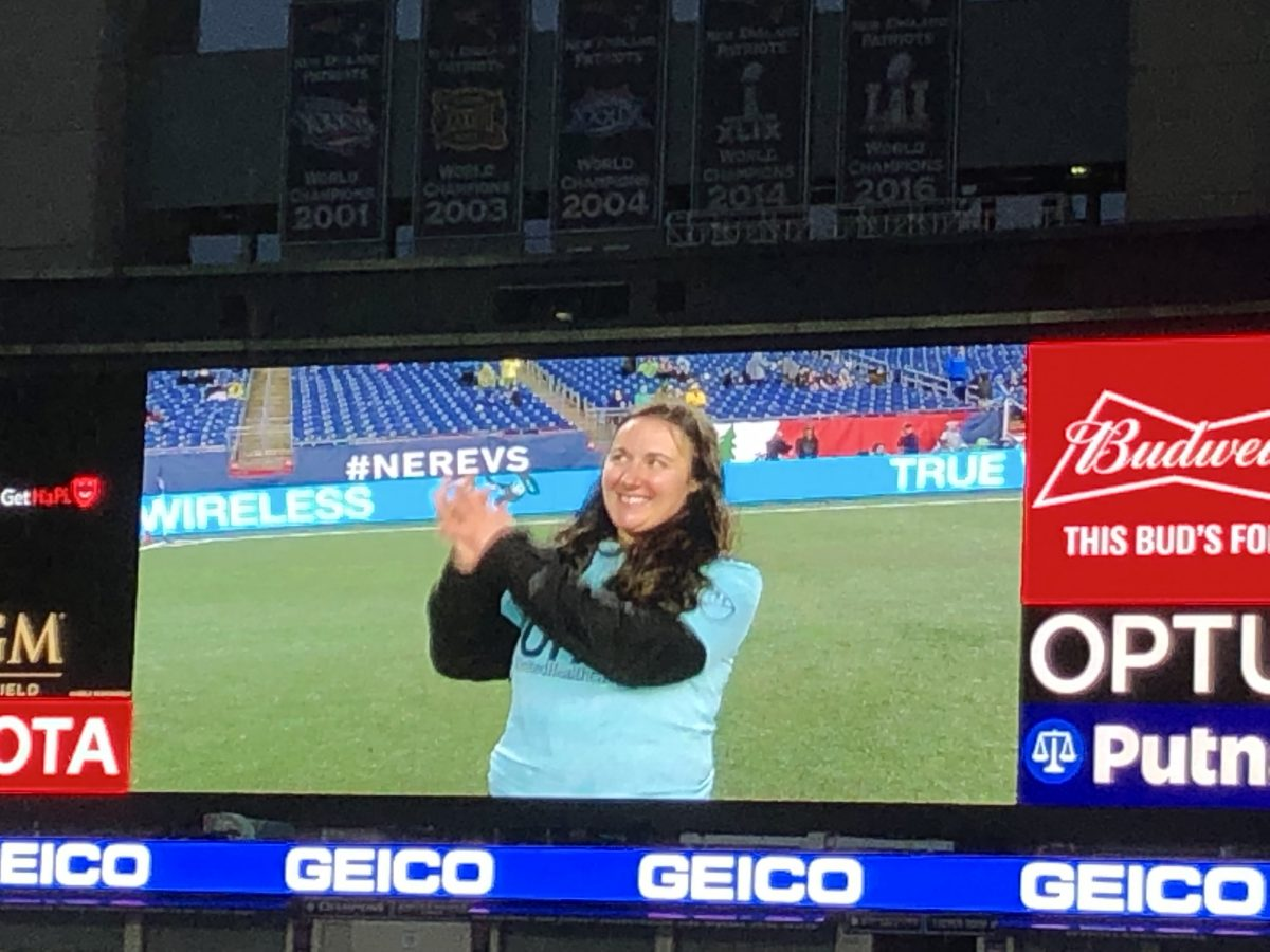 Senior Biologist Linda Lory is introduced to the crowd at Gillette Stadium before the April 20, 2019, Revolution game