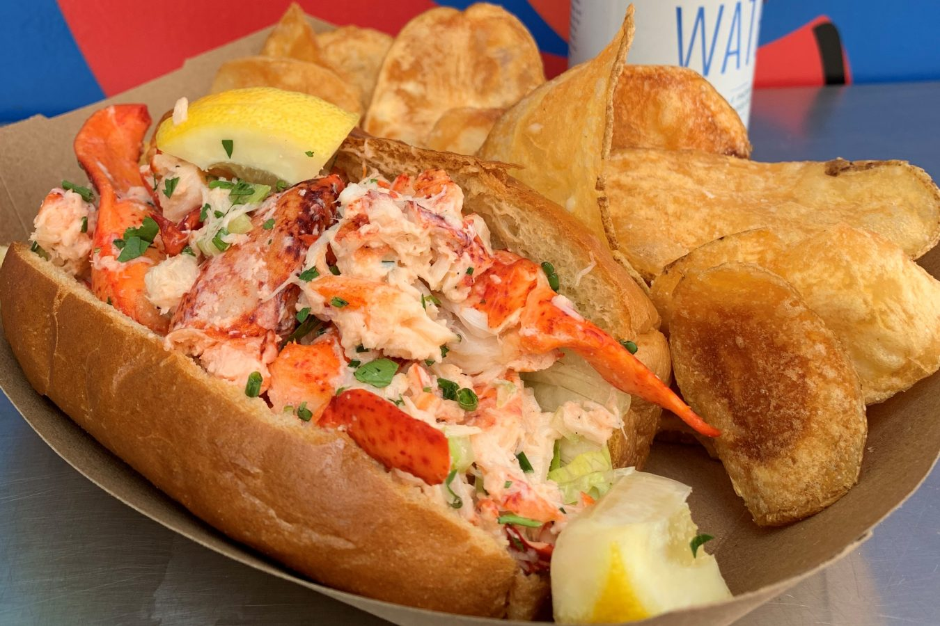 Lobster roll and baked chips