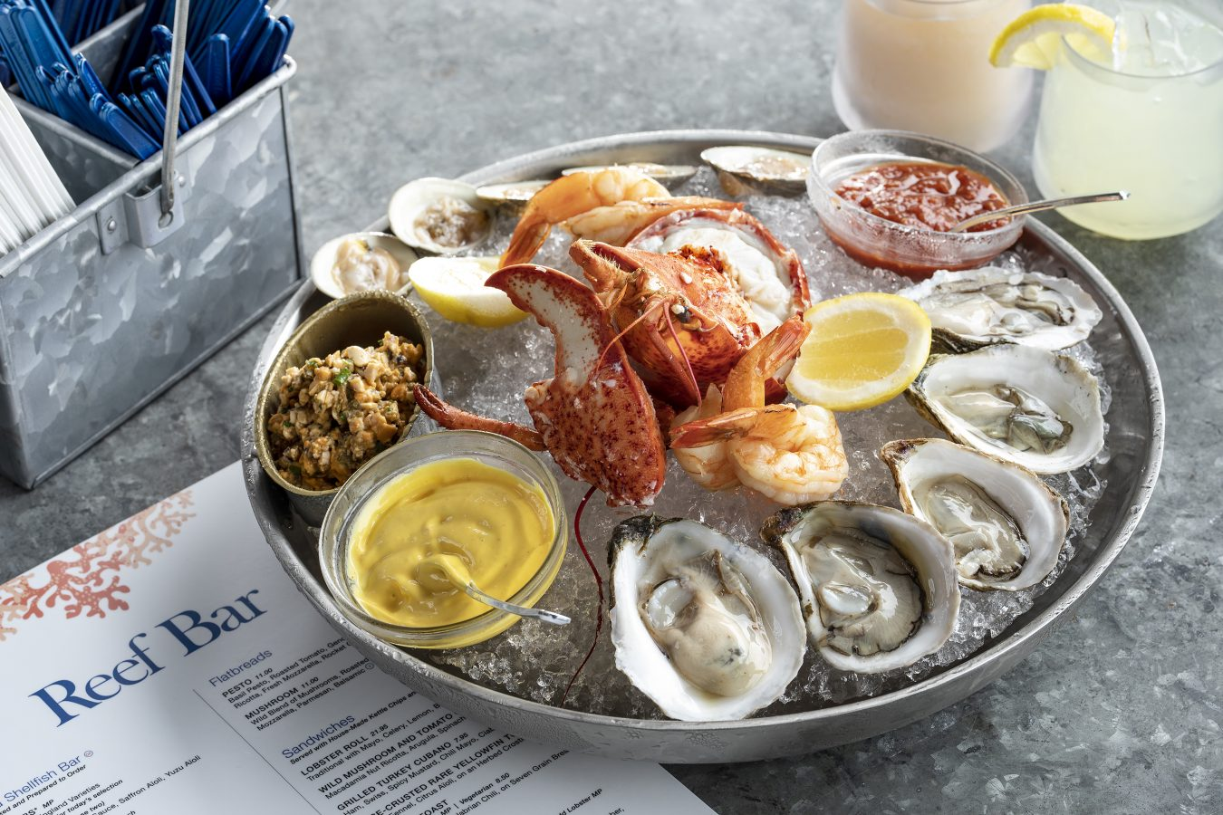 Lobster, shrimp, and oysters from the raw bar at the Reef Bar