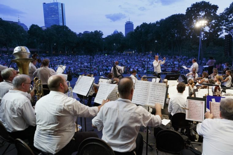 Boston Landmarks Orchestra performs in August 2018 at the Hatch Shell in Boston.