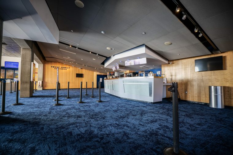 lobby in renovated Simons Theatre
