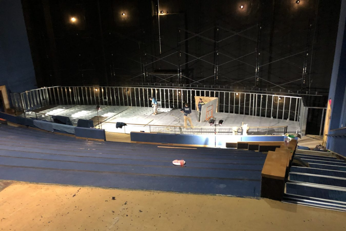 stage under construction for Simons Theatre renovation project