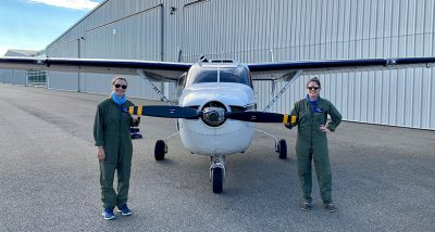 Katherine and Orla with Plane